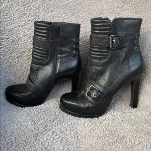 Black Leather Heeled Moto Booties 10